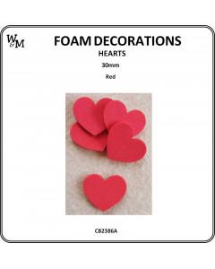 W&M Foam Hearts Red 30mm
