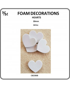W&M Foam Hearts White 30mm