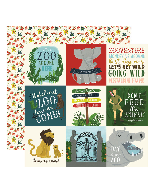Echo Park Animal Safari Paper - 4 x 4 Journaling Cards
